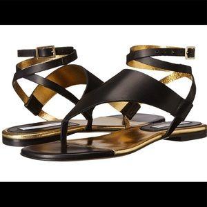 Diane Von Furstenberg Black Leather Greek Sandals